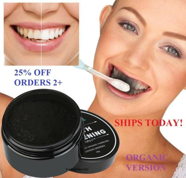 100% ORGANIC COCONUT ACTIVATED CHARCOAL NATURAL TEETH WHITENING POWDER USA VALUE 1