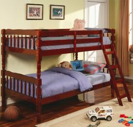Pine Bunk Bed with ladder Mahogny Colour