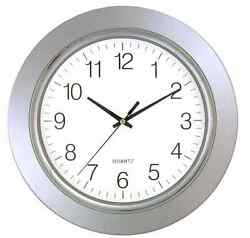 Timekeeper Large 13 Round Modern Glass Face Wall Clock with Silver Chrome Frame