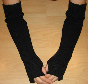 WOMEN-WINTER-FINGERLESS-KNIT-ARM-WARMERS-w-ROSE-Many-Colors-Black-Red-Etc