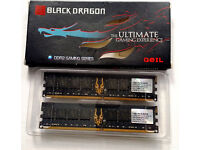 RAM DDR2 Memory 1GB x 2 GeIL Black Dragon PC2-6400 800MHz