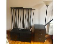 Black contemporary Bedroom Set : Double bed, standing light, shelf/cabinet, coaster drawers