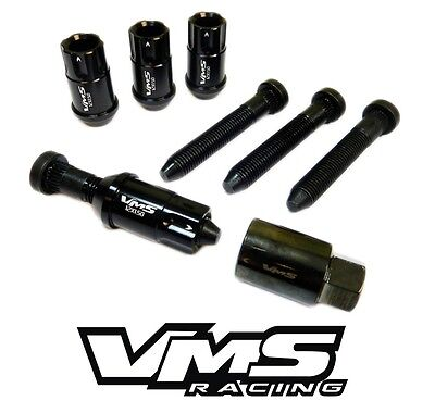 20PC BLACK VMS RACING LOCKING LUG NUTS + EXTENDED WHEEL STUDS FOR HONDA ACURA