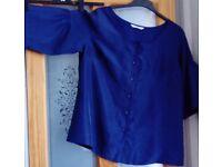 Elvi blue silk blouse - size 16 but quite generous fit