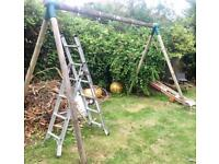 Plum wooden double swing and slider