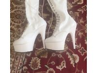 Patent white PLEASER Boots uk 4 / 4.5 6inch delight-2023