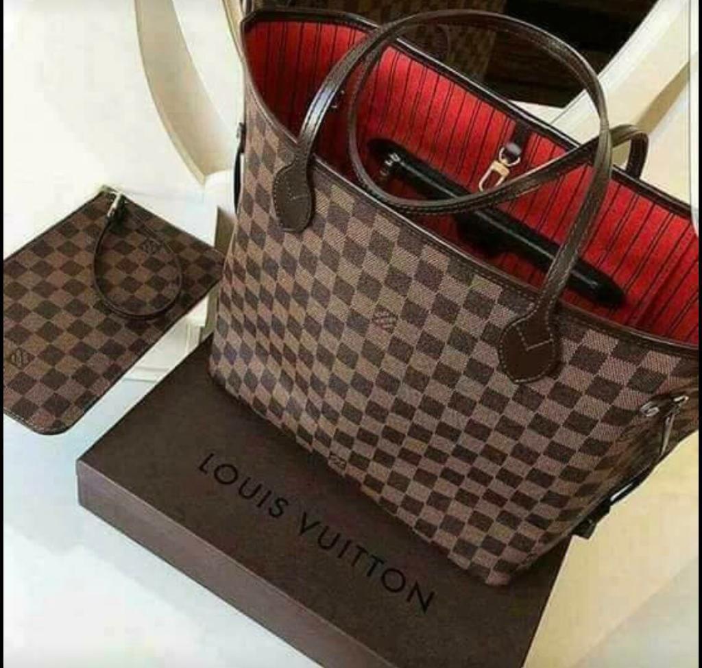 100% Brandnew Ladies 2in1 Brown MM Neverfull Bag & Purse Xmas Gift Set cheap