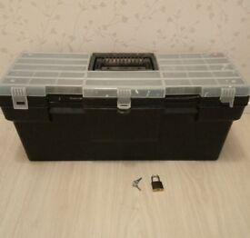 Toolbox with new padlock. 25 x 10 x 9 inches ( 64 x 25 x 23 cm).