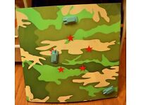 Magnetic Steel Camouflage Wall Notice Board Great for Childs/Boys Bedroom with 3 Tank Magnets