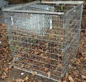 Heavy duty folding steel cage.(3 available) Height 44 inches, width 48 inches, depth 40 inches
