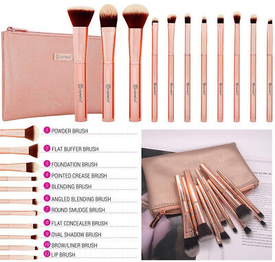 BH Cosmetics 11 Piece Professional Metal Rose Brush Set With Cosmetic Bag UK