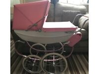 Silver cross dolls pram in princess colours pink and white