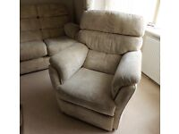 THREE PIECE FABRIC COVERED LOUNGE SUITE - GOOD CONDITION.