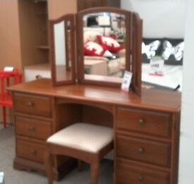 Dark wood dressing table with mirror and stool