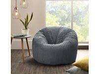 Jumbo Cord Beanbag Chair Grey, Large Bean Bags in Plush grey