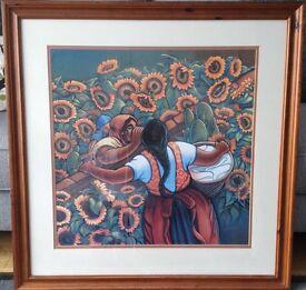 Professionally framed Simon Silva art print. Las Camadres. 78 X 78 cm (31 x31 inches)