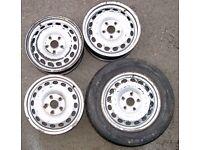 VW 4 STEEL WHEELS 15 INCH RIMS 112 X 5 CENTER 57.1 AUDI SKODA SEAT CADDY GOLF BORA TOURAN PASSAT