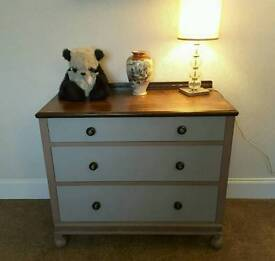 Three drawer chest of drawers painted Annie Sloan Shabby chic