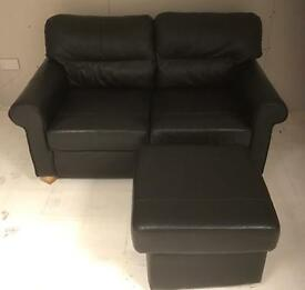 Black Leather two seater with footstool