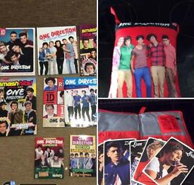 For sale one direction items : books, magazine, cushion.