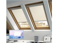 2 Cream blackout blinds for Velux window