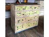 Chip Painted & Waxed Distressed Chest Of Drawers
