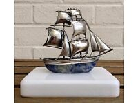 -ILIAS LALAOUNIS- GREEK 925 STERLING SILVER SAILING BOAT YACHT FIGURE MODEL ON MARBLE BASE