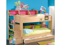 Parisot meubles bunk bed beech with storage under drawer and mattresses, 3 years old.