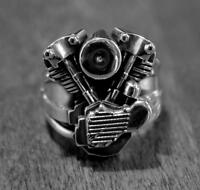 Knucklehead Engine Ring In Sterling Silver