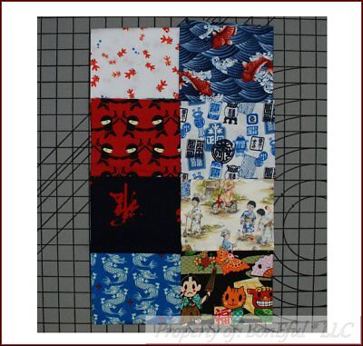 BonEful Fabric COTTON QUILT LOT Asian Japanese Chinese BOY Anime Dragon Name Cat