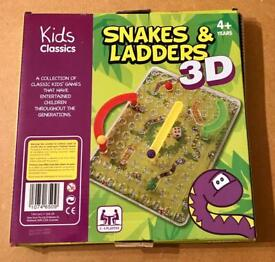 Kids Classics 3D Snakes & Ladders Family Game - Complete And Good Condition.