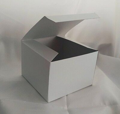 Lot Of 10 5x5x3.5 Gift Retail Shipping Boxes White Lightweight Cardboard Packing