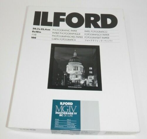 """ILFORD MGIV Multigrade IV RC De Luxe Photographic Paper 8x10"""" Pearl 75+ Sheets"""