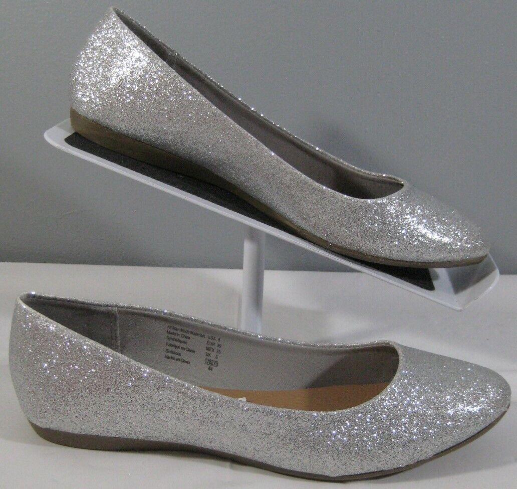 New Women's American Eagle 178279 Clinton Silver Slip On Ballet Flats Shoe Sz 8