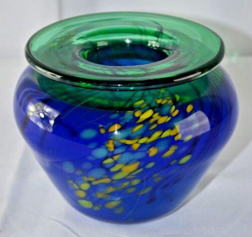 "GORGEOUS SIGNED  STUDIO ART GLASS VASE 5.5""X4.5"""