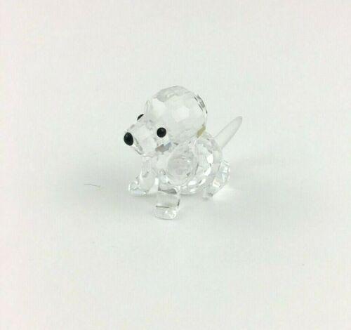 Swarovski Crystal Puppy Dog Sitting Figurine with Swan Logo