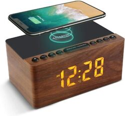 Wooden Digital Alarm Clock FM Radio,10W Fast Wireless Charger Station for iPhone