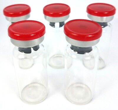 5 10ml Sterile Clear Glass Vials Usp - Red Flip Top Seals - Free Shipping