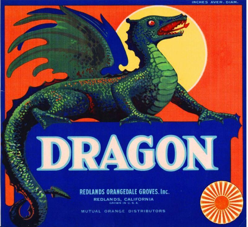 Redlands San Bernardino County Dragon Orange Citrus Fruit Crate Label Art Print