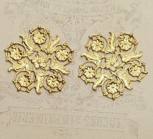 Raw Brass Ornate Floral Filigree Stampings (2) - RAT3804