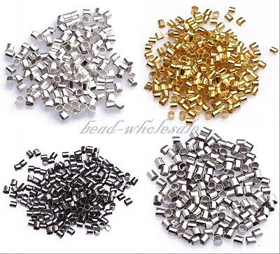 Wholesale 500/1000pcs Silver/Gold/Black/Bronze Tube Crimp End Beads 1.5mm 2mm (Gold Flatware Wholesale)
