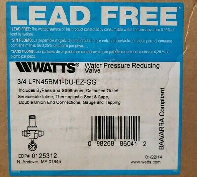Watts Lfn45bm1 Water Pressure Reducing Valve No Lead Brass 34 Npt 1j-2824-g24