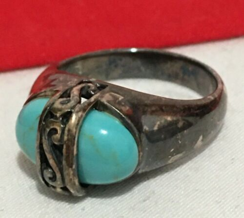 PD SIGNED 925 Sterling Silver Turquoise Stone Scroll Design Band RING SIZE 5.75
