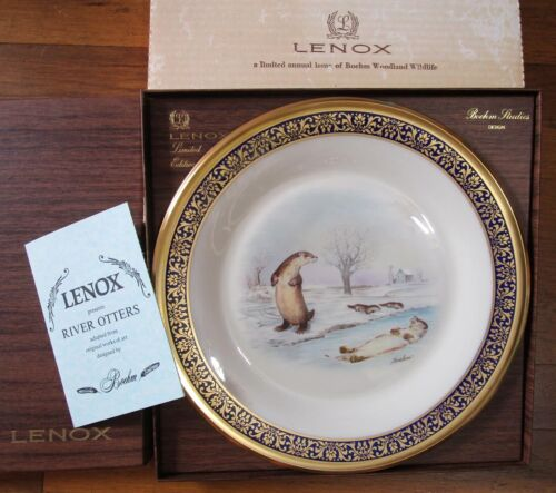 Lenox Boehm River Otters Collector Plate Woodland Wildlife Limited Edition 1982