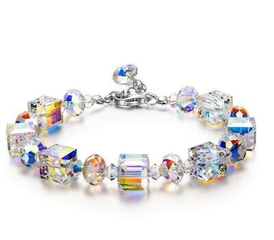 - Luxury Women Crystal Stretch Bracelet 18K White Gold Adjustable Beaded Bangle