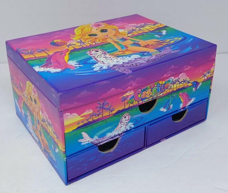 VTG Lisa Frank Stationary Jewelry Box Drawers Glitter Cassie Surfer Girl Empty