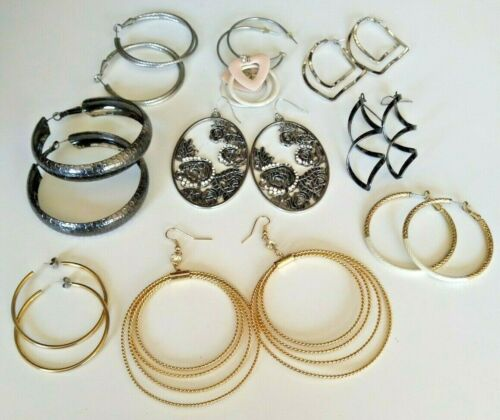 9 PAIR PIERCED Mixed Lot Hoop & Dangle Earrings NICE!