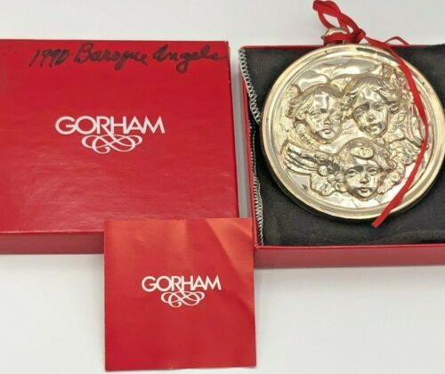 Gorham Sterling Silver 1991 Baroque Angel Ornament, with box