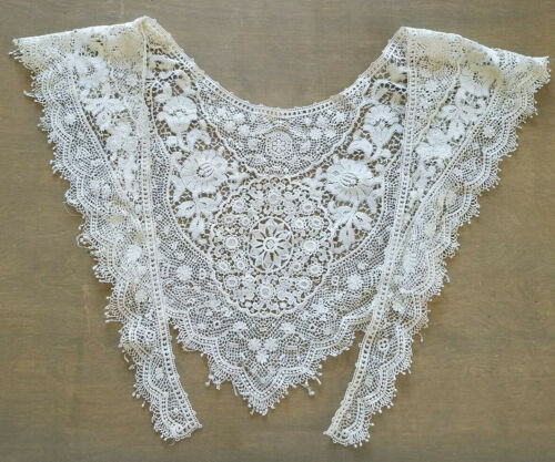 Original ANTIQUE Victorian Edwardian Ivory Lace Embroidered / Crochet Collar