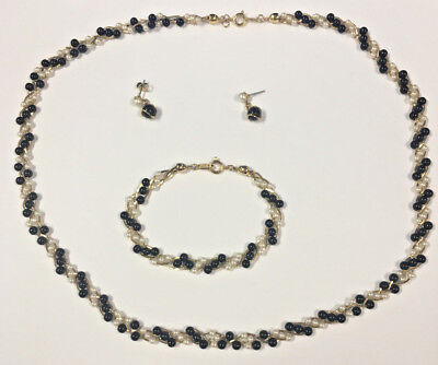 Trifari Black & White Beaded Gold Tone Set, Necklace, Bracelet &